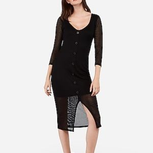 NWT Express Ribbed Button Front Long Sleeve Dress